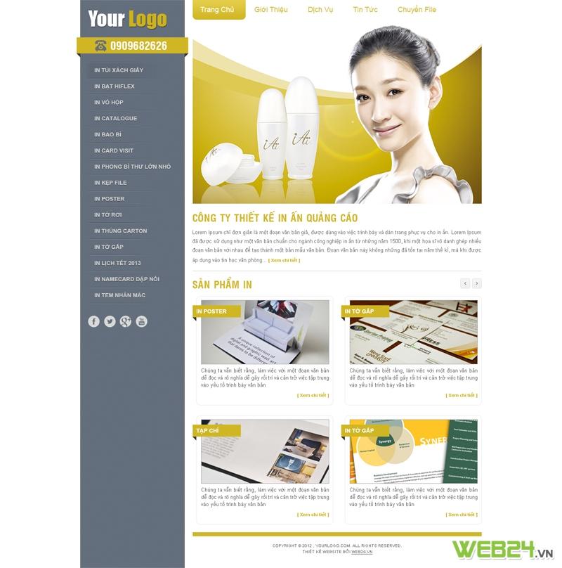 Mẫu website in ấn, thiết kế