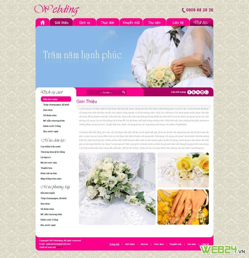 Mẫu website nhà hàng tiệc cưới