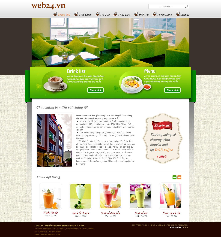 Mẫu website quán cafe