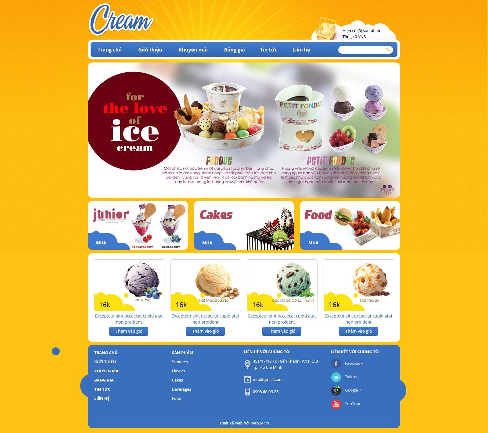 Mẫu web cửa hàng bánh